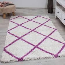 shaggy teppich rauten design creme lila modern