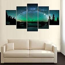 wmwsh moderne design home dekorative wandbild sternennacht der nordlichter hd gedruckt vlies leinwandbild wohnzimmer bilder 5 panel wandkunst modulare