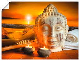 artland wandbild bad zubehör mit buddha statue religion 1 st in vielen grössen produktarten alubild outdoorbild für den aussenbereich
