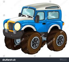 Cartoon Happy And Funny Off Road Car Looking Like Monster Truck ...