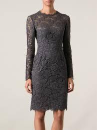 valentino lace sheath dress in gray lyst