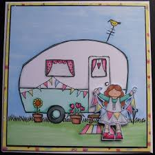Happy Camper Today Is Lynn The Campervan Queens Birthday And Although This Card Doesnt Have A On It Does Pretty Retro Caravan
