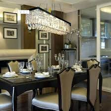 Dining Table Chandelier Furniture Charming Linear Room Chandeliers Large Modern Rectangle Rectangular Island Crystal
