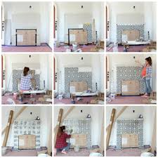 building a new fireplace patterned cement tile surround the