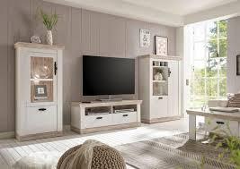 florenz wohnwand anbauwand wohnzimmer 3 teilig pinie weiß oslo pinie