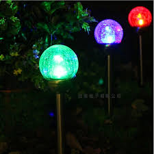 led waterproof solar crackle glass colorful lawn l