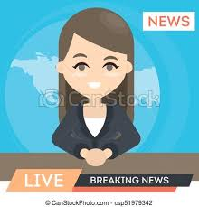 Tv News Anchor Woman Presentor With Breaking
