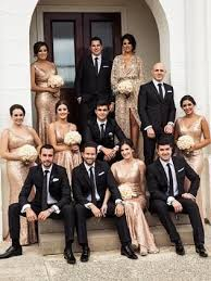 Pair Rose Gold Sequins For The Bridesmaids With Black By Vera Wang Suits A Glamorous