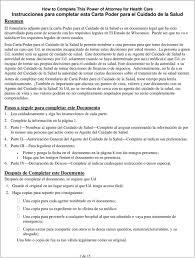 Power Of Attorney For Healthcare Carta Poder Para El Cuidado De La