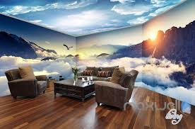 Wall Mural Decals Nature by Cloud Sea Peak Theme Space Entire Room Wallpaper Wall Mural Decal