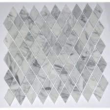 rhomboid italian white carrara marble polished mosaic tiles for