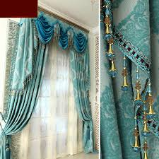 luxury living room curtains and drapes in baby blue color