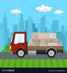 Small Truck With Boxes On The Road Royalty Free Vector Image