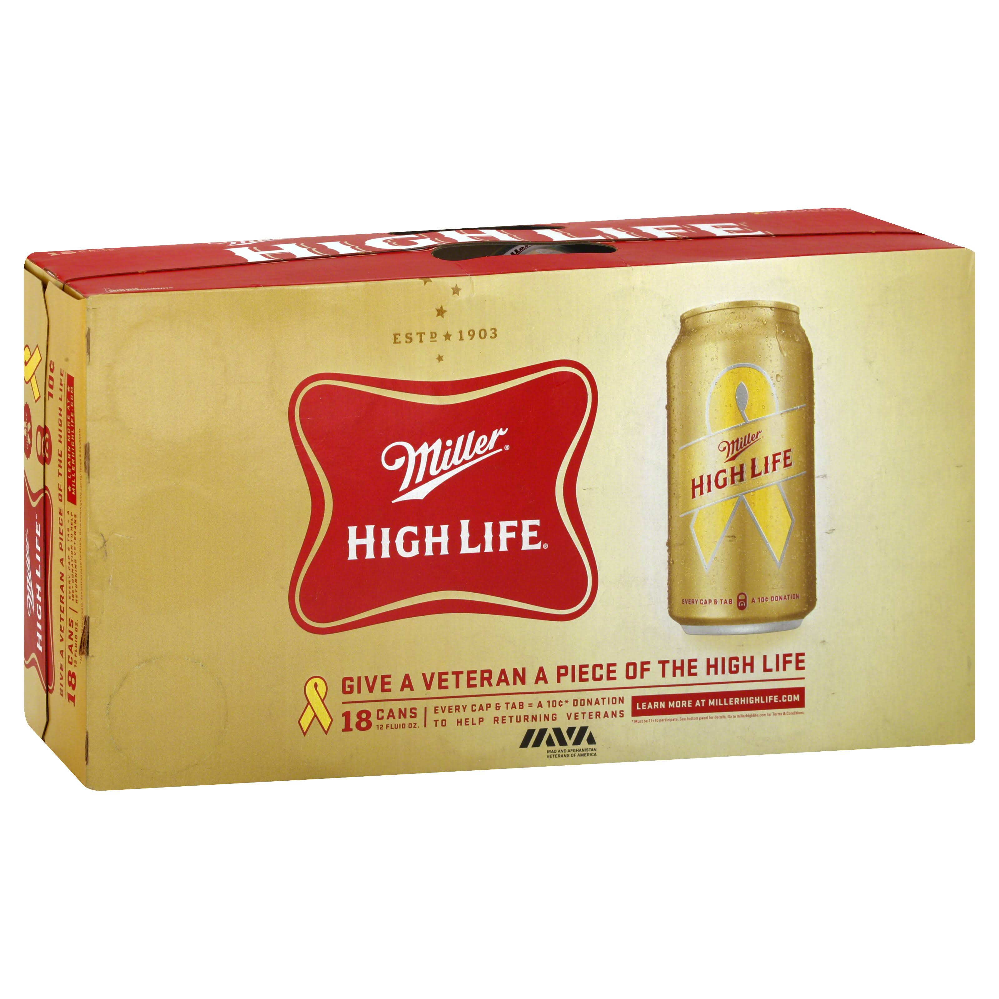 Miller High Life Beer - 18x12 Oz