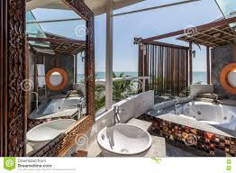 100 Modern Thai House Design Interior Of The Bathroom With Sea View Stock