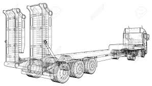 Low Bed Truck Trailer. Abstract Drawing. Wire-frame. EPS10 Format ... Semi Truck Outline Drawing Peterbilt Coloring Page How To Sketch 3d Arstic Of A Simple Draw Youtube An F150 Ford Pickup Step By Guide Illustration With Royalty Pencil Sketches Trucks Drawings Excellent Vector Cliparts To A Chevy Drawingforallnet Black White Stock 551664913 Old Speed Diesel Transportation Free