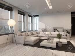 moderne schwarzen und weißen wohnzimmer innenraum mit gemalten weißen dielen mit einem schwarzen teppich eine ecke sitzgruppe reihe der fenster und
