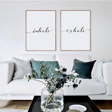 Inhale Exhale Print Minimalist Typography Art Yoga Wall Art