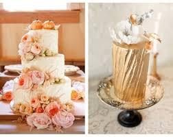 Gold Peach Pink Wedding Cake