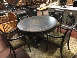 Handpainted Wood Pedestal Table 49