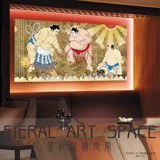 Printed Ukiyoe Japan Style Sumo Wall Art Picture On Canvas For Japanese Restaurant Hotel Sushi Bar Izakaya In Painting Calligraphy From Home Garden