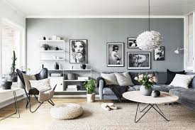 Scandinavian living room black and white pictures of Mister in