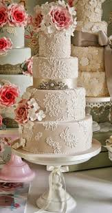 Vintage Inspired Lace Wedding Cakes With Pink Ombre Sugar Roses Topper