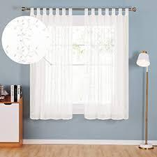 deconovo transparente stores vorhänge gardinen schals wohnzimmer schlafzimmer polyester creme blatt 175x140 2