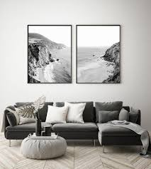 set of 2 prints wall black and white wall