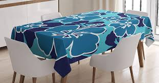 Lunarable Blue Floral Tablecloth, Tropical Hibiscus Silhouettes Blooming  Hawaiian Nature, Rectangular Table Cover For Dining Room Kitchen Decor, 60