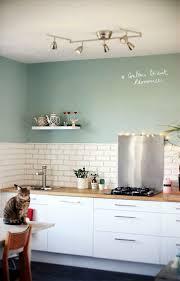 Cuisine Blanc Laque Plan Travail Bois Couleur Ressource Vert Biscuit Une Mint WallsMint Kitchen