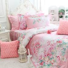 Romantic Pink Rose Print Bedding Sets Elegant Rustic Vintage Floral Princess Comforter Set Korean Falbala Ruffled