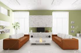 100 Sofa Living Room Modern Interior Of With Two S And Tv 3d Render Stock