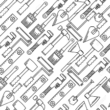 Seamless Vector Pattern With Black Line Woodwork Hand Tools On White Background Stock