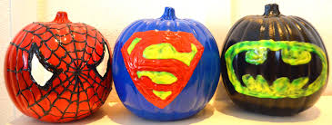 Nerdy Pumpkin Carving by Crafty Mom Of 3 Superhero Pumpkins