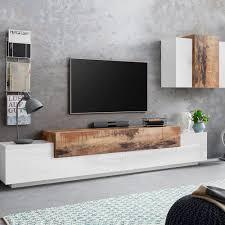 wohnzimmer schrankwand modernes design weiß holz corona moby