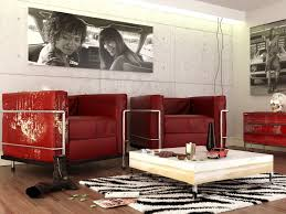 images of red contempoary living rooms red black white