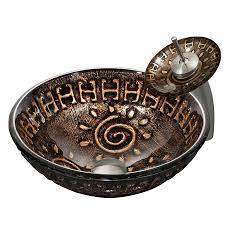 shop vigo vessel sink faucet set mediterranean seashell glass