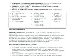 Spanish Resume Example Teacher Certification Inspirational New Substitute Examples Download By Format