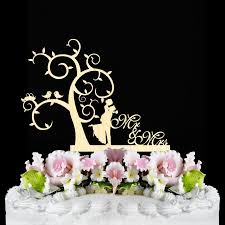 Rustic Wedding Cake Topper Decor Mr And Mrs Country Wooden Tree Bird Toppers Funny