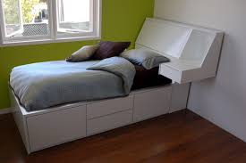 white twin platform bed frame and headboard with storage also