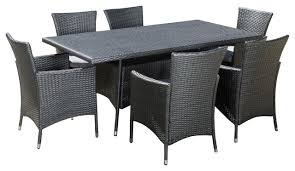 7 Piece Patio Dining Set by Macalla Grey Pe Wicker 7 Piece Outdoor Dining Set Tropical