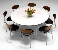 Marvelous Modern Round Dining Table For 8 White Room Seats Kitchen And Sets Wayfair