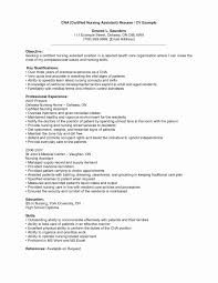 Resume Samples For Nurses With No Experience Beautiful Sample Cna Previous