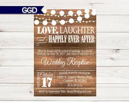 Rustic Wedding Reception Invitation With Lights Vintage Invitecountry Chic ReceptionReception Only