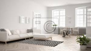 fototapete helles minimalistisches wohnzimmer mit sofa und esstisch skandinavische