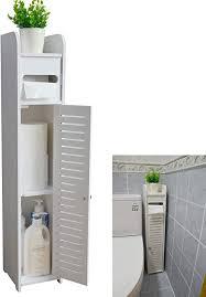 aojezor kleiner badezimmer eckschrank mit türen und regalen schmaler wc schrank badezimmer organizer handtuch ablage für papierhalter weiß