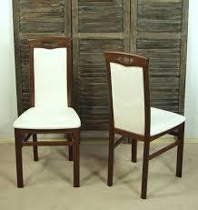 2 x stühle massivholz esszimmerstühle stuhlset esszimmer nußbaum dunkel creme