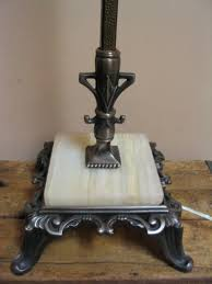 1920s Brass Iron Bridge Arm Floor Lamp