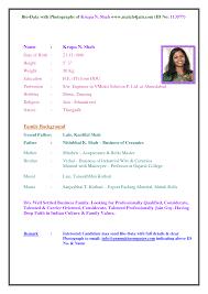 Resume Format Download Cv Sample Bio Data For